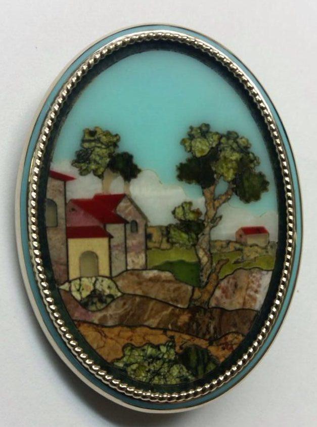 Золотая брошь с флорентийской мозаикой